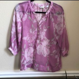 🍬 NY& Co sheer floral print dress blouse